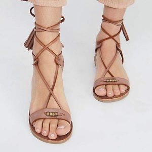 Free People 11 Bryn Marr Lace Up Leather Sandals